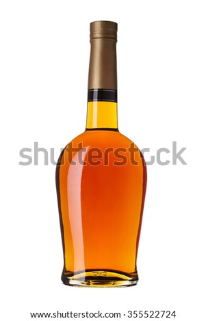 bottle of brandy without label, isolated on white - stock photo
