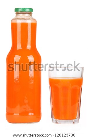 Bottle of carrot juice - stock photo