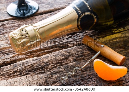 bottle of champagne and a glass - stock photo