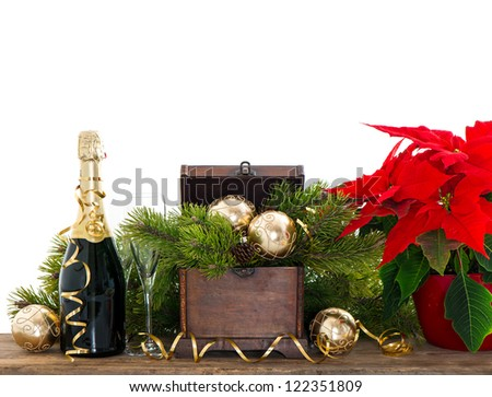 bottle of champagne and two glasses on white  background. festive new years decoration