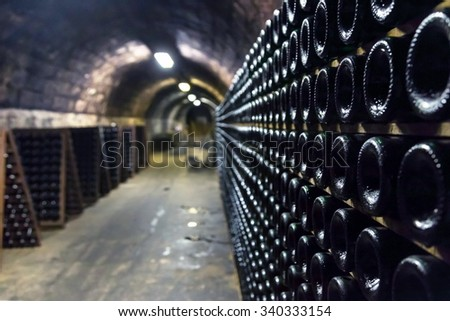 Bottle of champagne in the cellar