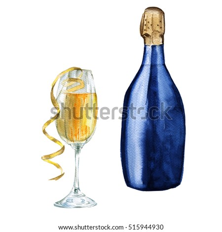 bottle of champagne in the glass. Isolated on a white background. Watercolor sketch.