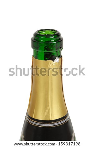 Bottle of champagne isolated on white background - stock photo