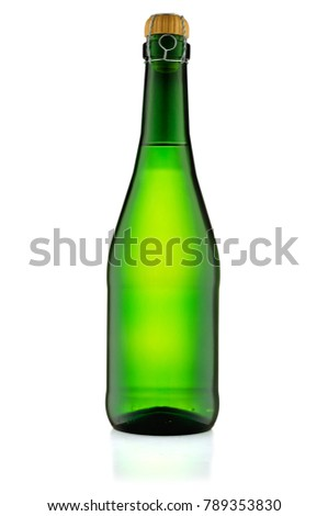Bottle of champagne isolated on white background with clipping path