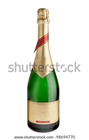 Bottle of champagne isolated on white with clipping path - stock photo