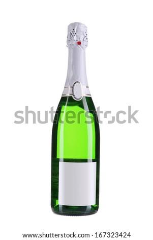 Bottle of champange.  Isolated on white background - stock photo
