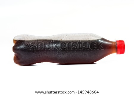 bottle of cola soda isolated on a white background coca cola - stock photo