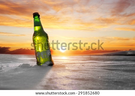 bottle of cold beer - stock photo