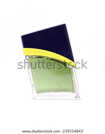 Bottle of cologne on a white background