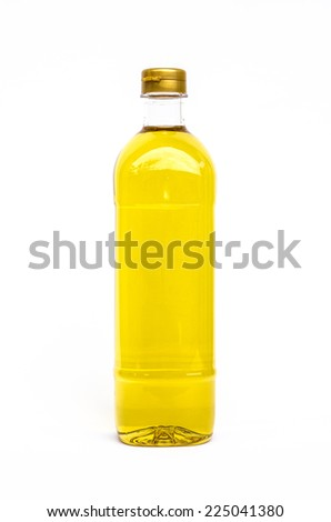 Bottle of cooking oil isolated on white background - stock photo
