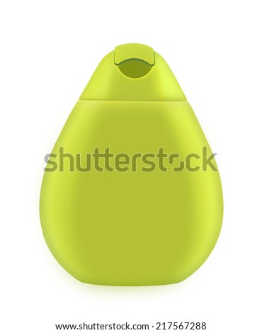 Bottle of cosmetics. Plastic bottle for lotion, soap, shampoo, sunscreen etc. Isolated on white - stock photo