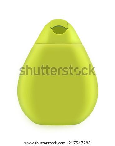 Bottle of cosmetics. Plastic bottle for lotion, soap, shampoo, sunscreen etc. Isolated on white - stock photo