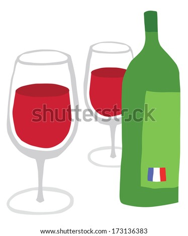 Bottle of French Wine and Two Glasses
