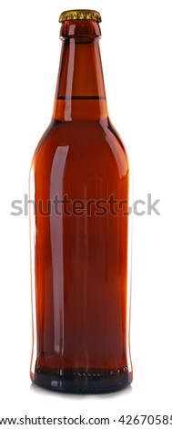 Bottle of fresh beer isolated on white