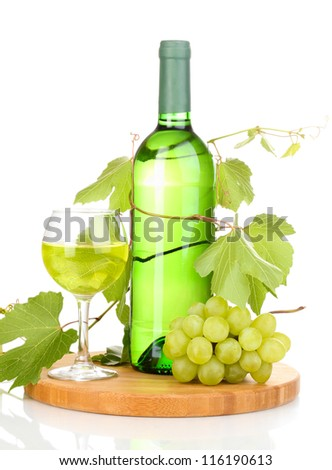 Bottle of great wine and wineglass isolated on white