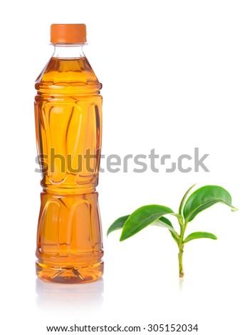 Bottle of ice green tea on white background - stock photo