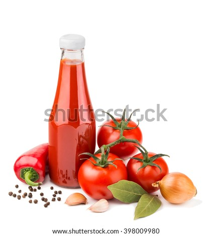 Bottle of ketchup and raw ingredients isolated on white - stock photo