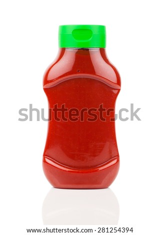 Bottle of Ketchup isolated on white background - stock photo
