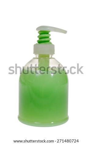 Bottle of liquid soap on the white background, dispenser, a reserve bottle - stock photo