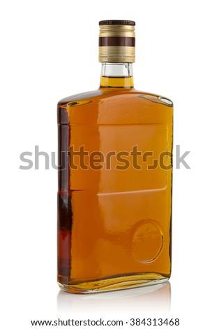 bottle of liquor on a white background - stock photo