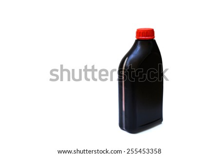 bottle of lubricant for car isolated on white background - stock photo