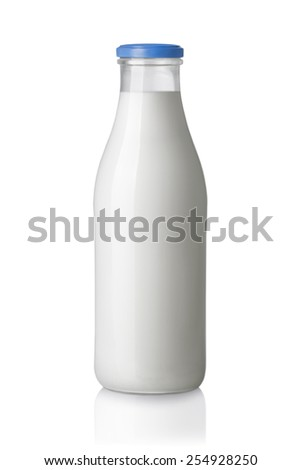 bottle of milk isolated on white background - stock photo