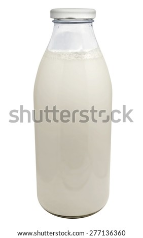 Bottle of milk isolated on white background. Clipping Path included. - stock photo