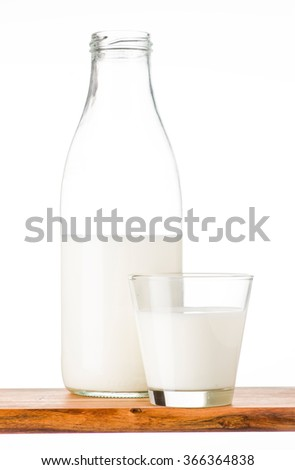 bottle of milk on wood