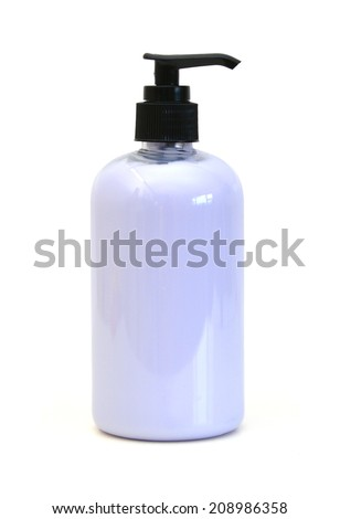 Bottle of moisturizer standing on white background - stock photo