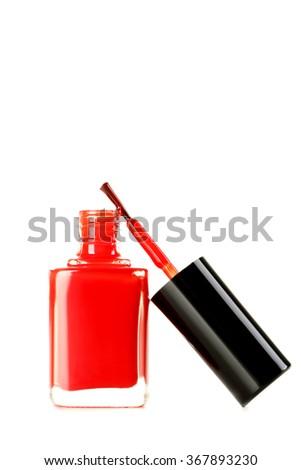 Bottle of nail polish isolated on a white - stock photo