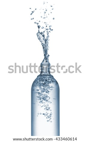 bottle of natural water with splash, isolated on white - stock photo