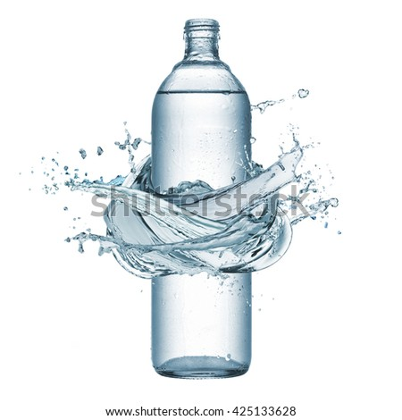bottle of natural water with splash water around, isolated on white - stock photo