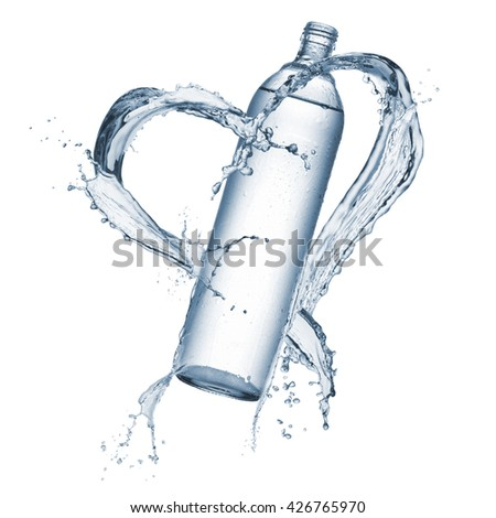 bottle of natural water with splash water heart shaped around, isolated on white