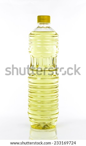 bottle of oil isolated on white - stock photo