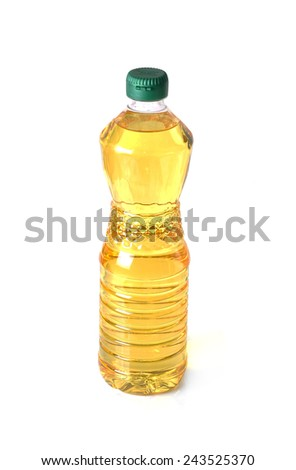 Bottle of oil  isolated on white background - stock photo