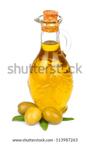 Bottle of olive oil and olive on a white background
