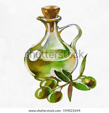 Bottle of olive oil and some olives on a white background. Watercolor picture. - stock photo