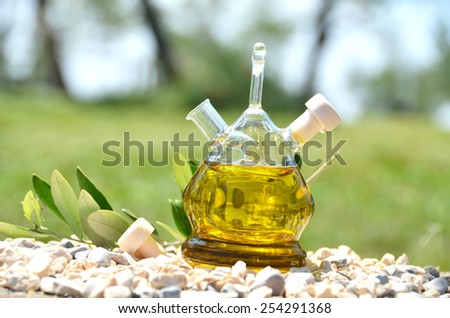 Bottle of olive oil in the olive grove. Sirmione, Italy - stock photo