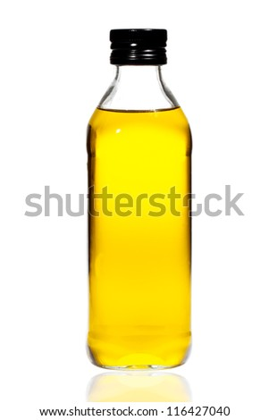 bottle of olive oil isolated on white background - stock photo
