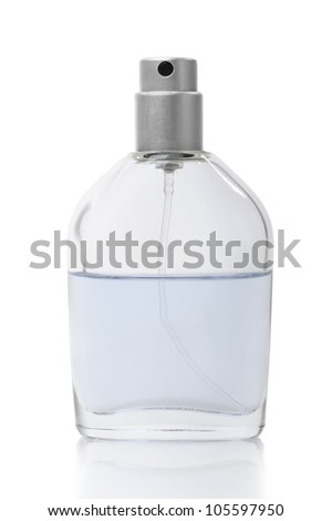 Bottle of perfume isolated on white background - stock photo