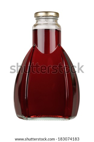 Bottle of red juice isolated on a white background. With clipping path