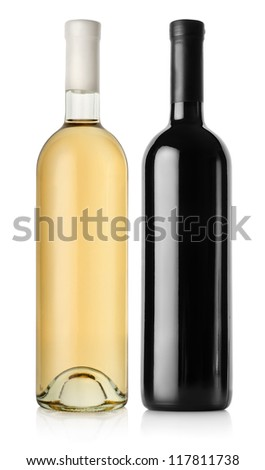 Bottle of red wine and white wine isolated on a white background - stock photo