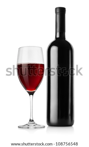 Bottle of red wine and wineglass isolated on a white background. - stock photo