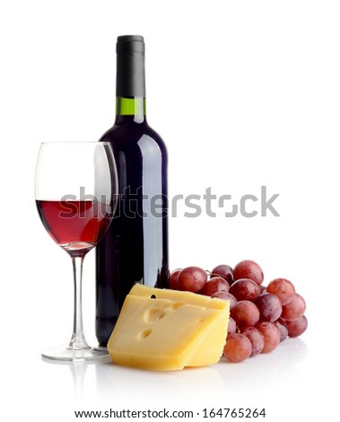 Bottle of red wine, grapes and cheese isolated on white - stock photo
