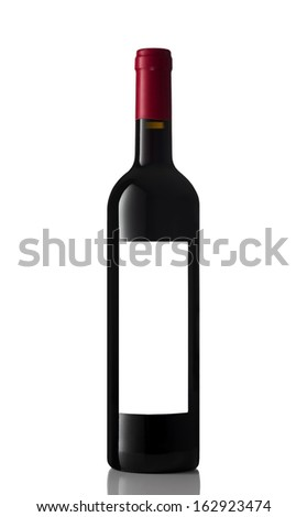 bottle of red wine isolated on the white with clipping path