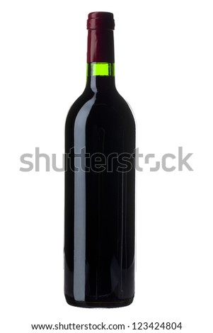 Bottle of red wine isolated on white background