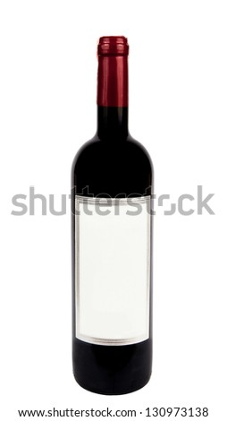 Bottle of red wine isolated on white with clipping path.