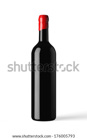 bottle of red wine isolated with wax capsule