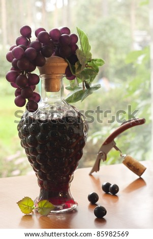Bottle of red wine with a cluster of grapes against the nature - stock photo