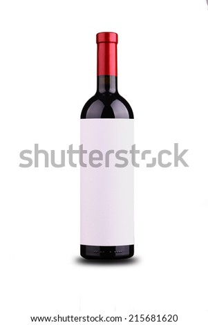 Bottle of red wine with blank plain label isolated over white